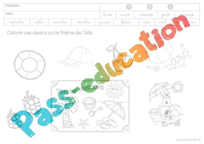 Coloriage Fevrier Ms Gs.Coloriage Sur Le Theme De L Ete Gs Grande Section Pass