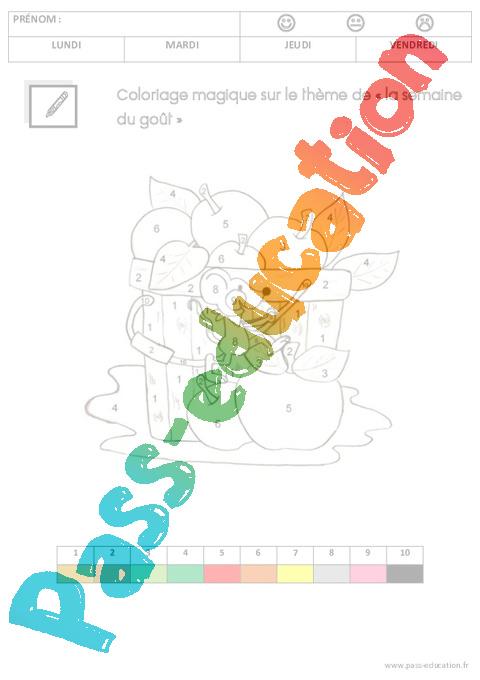 Coloriage Magique Printemps Gs.Coloriage Magique Sur Le Theme La Semaine Du Gout Gs