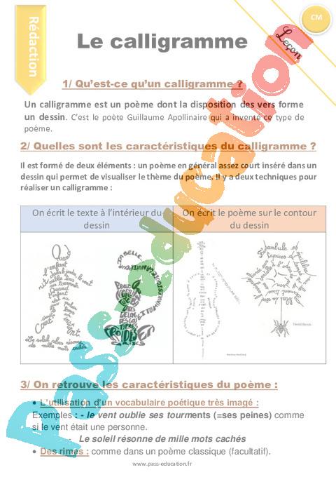 Calligramme Cm1 Cm2 Rédaction Textes Poétiques