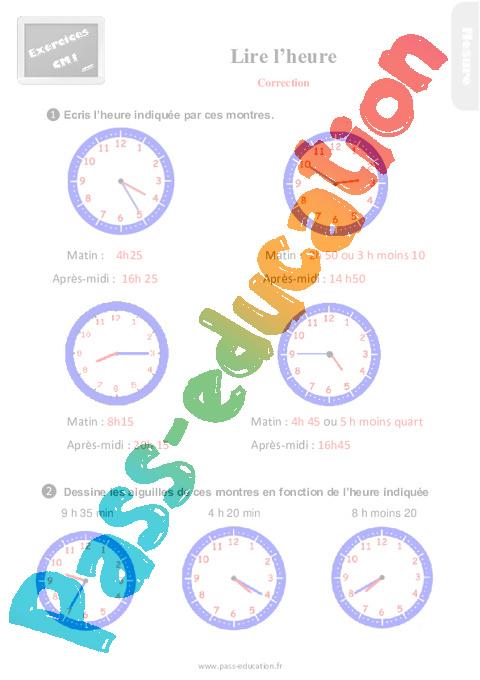 Exercices, révisions sur lire l'heure au Cm1 avec les corrections - Pass Education