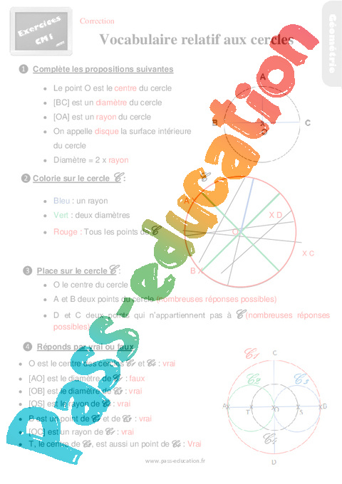 Exercices, révisions sur le vocabulaire relatif aux ...