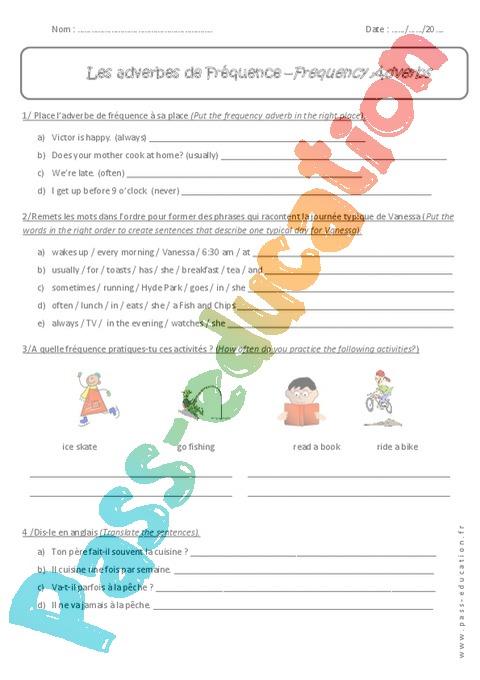 Adverbe de Fréquence - Anglais : 5ème - Exercices cours ...