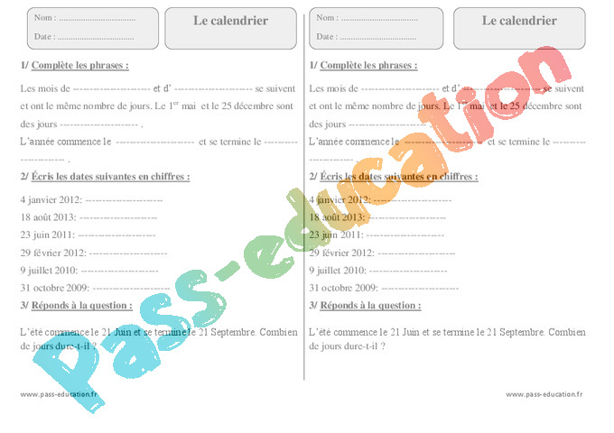 Exercice Sur Le Calendrier Ce2.Calendrier Ce2 Cycle 2 Exercice Evaluation Revision
