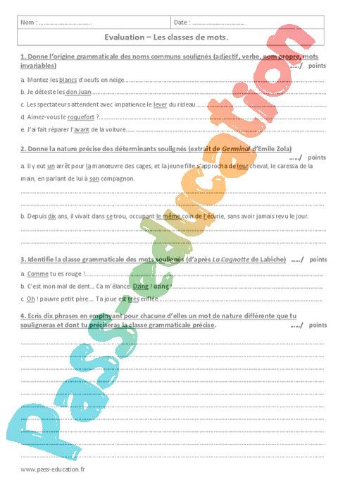 Classes de mots : 3ème - Exercices cours évaluation ...