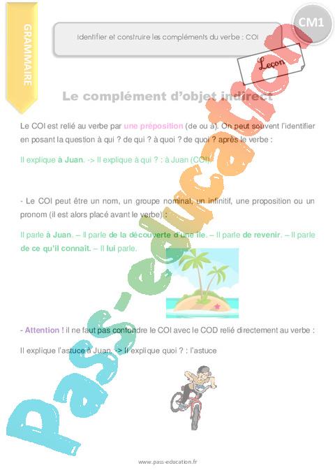 Leçon, trace écrite Complément d'objet COI, COD, COS : CM1 - Cycle 3 - Pass Education