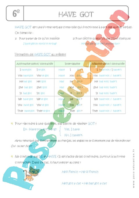 Cours Have Got - Anglais : 6ème - Cycle 3 - Pass Education