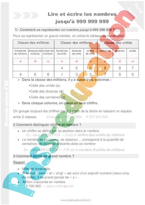 Leçon, trace écrite Numération : CM1 - Cycle 3 - Pass Education