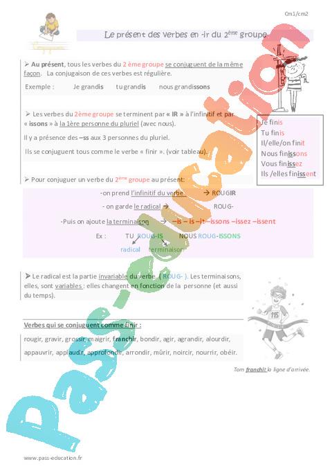 Leçon Trace écrite Présent De Lindicatif Cm1 Cycle 3 Pass