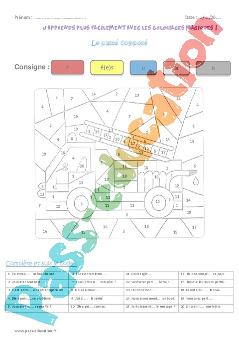 Coloriage Magique Conjugaison Cm.Coloriage Magique Conjugaison Cm1 Cycle 3 Pass Education