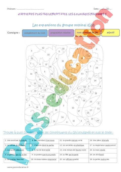 Coloriage Magique Cm2 Grammaire.Coloriage Magique Grammaire Cm2 Cycle 3 Pass Education