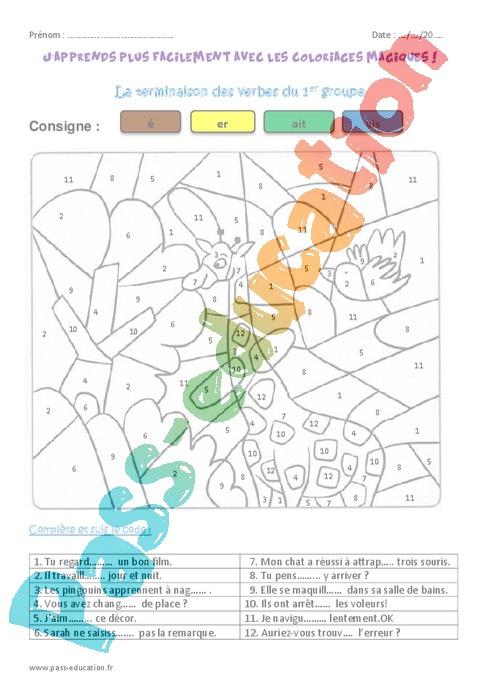 Coloriage Magique Cm2 Grammaire.Coloriage Magique Groupes Des Verbes Cm2 Cycle 3 Pass