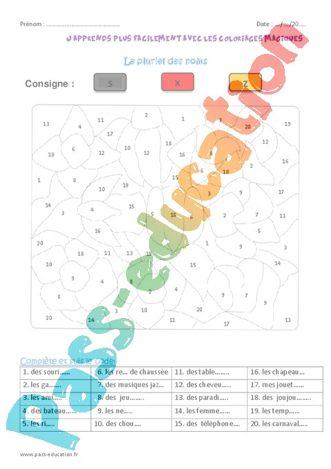 Coloriage Magique Orthographe Cm1 Cycle 3 Pass Education