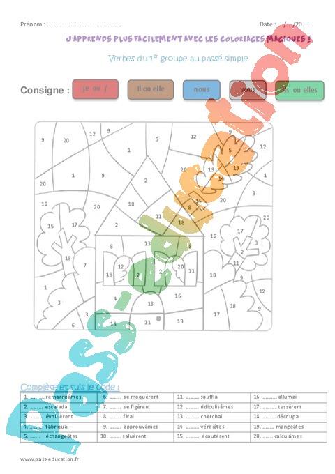 Coloriage Magique Conjugaison Cm.Coloriage Magique Passe Simple Cm1 Cycle 3 Pass Education