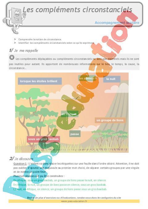 Complément circonstanciel : CM1 - Cycle 3 - Exercice ...