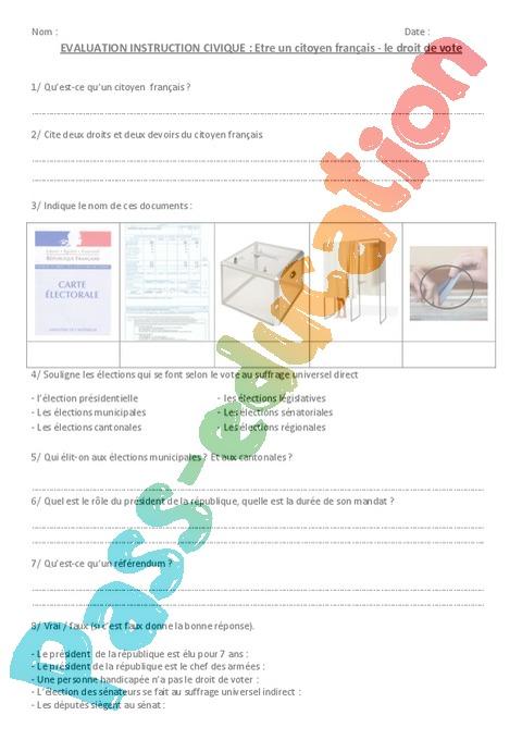 Evaluation Etre un citoyen français : CM1 - Cycle 3 - Bilan