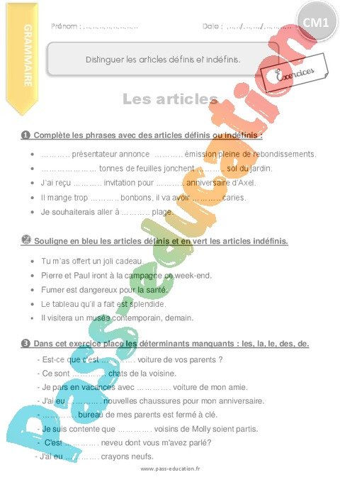 Exercice Article et déterminant : CM1 - Cycle 3 - Pass Education