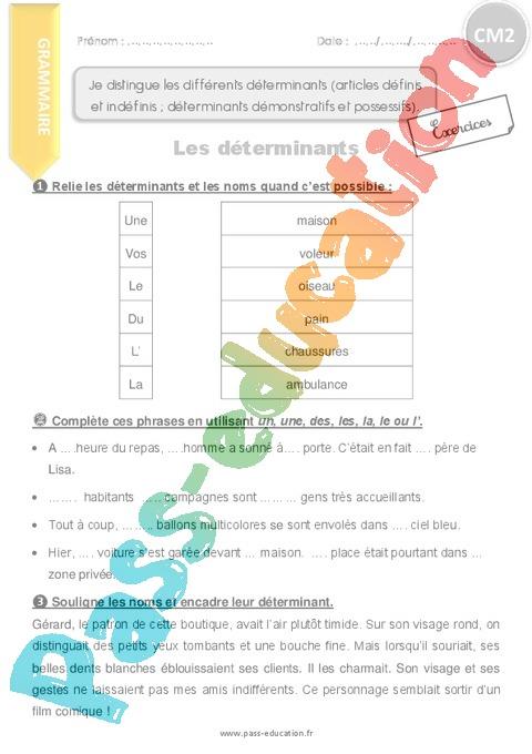 Exercice Article et déterminant : CM2 - Cycle 3 - Pass ...