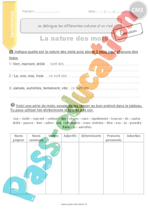Exercice Classes de mots : CM2 - Cycle 3 - Pass Education