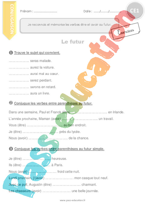 Exercice Conjugaison : CE1 - Cycle 2 - Pass Education