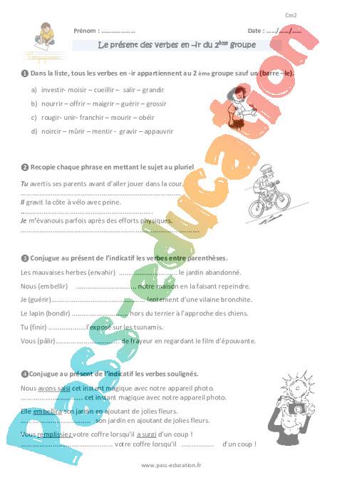 Exercice Conjugaison : CM2 - Cycle 3 - Pass Education