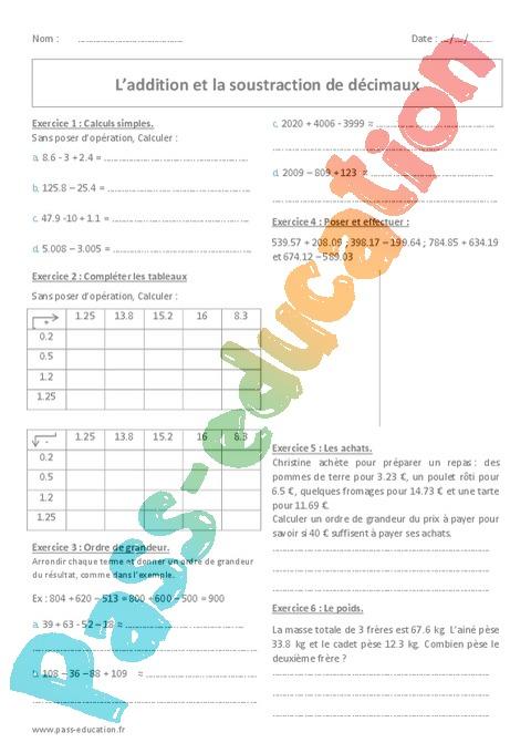 Exercice Décimaux : 6ème - Cycle 3 - Pass Education