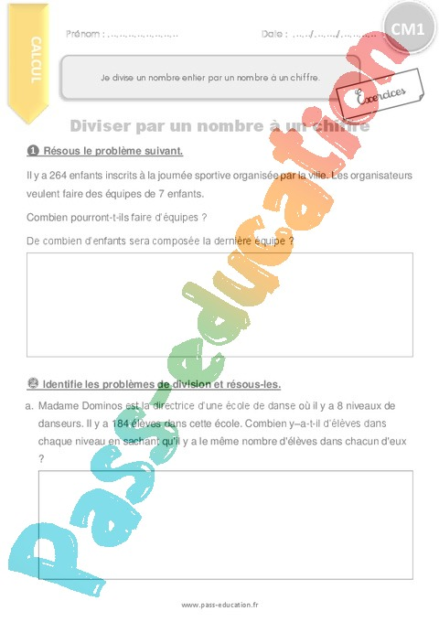 Exercice Division, partage : CM1 - Cycle 3 - Pass Education