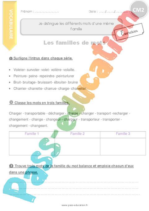 Exercice Familles de mots : CM2 - Cycle 3 - Pass Education