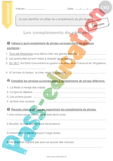 Exercice Grammaire : CM2 - Cycle 3 - Pass Education