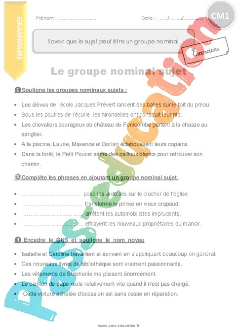 Exercice Groupe nominal : CM1 - Cycle 3 - Pass Education