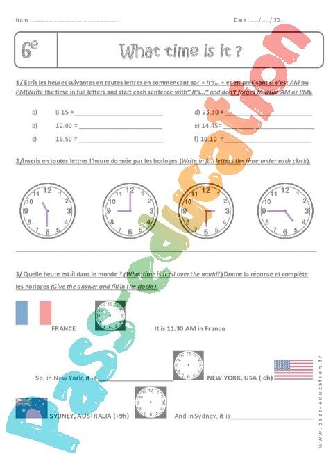 Exercice Heure - Anglais : 6ème - Cycle 3 - Pass Education