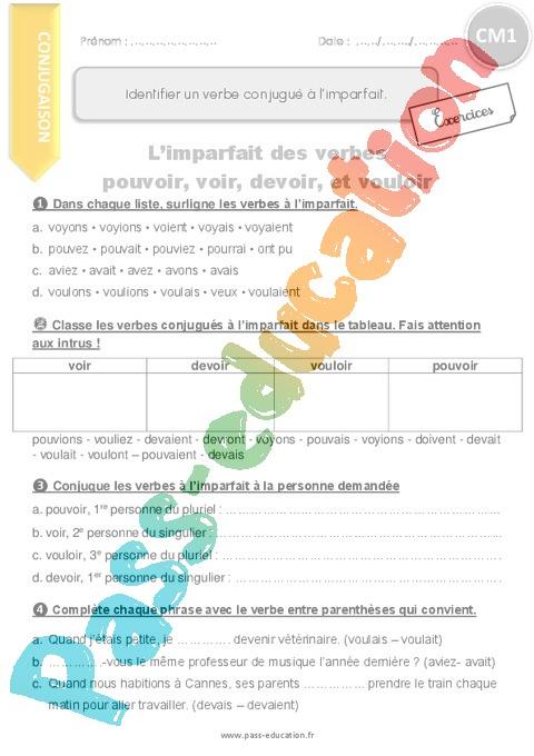 Exercice Imparfait de l'indicatif : CM1 - Cycle 3 - Pass ...