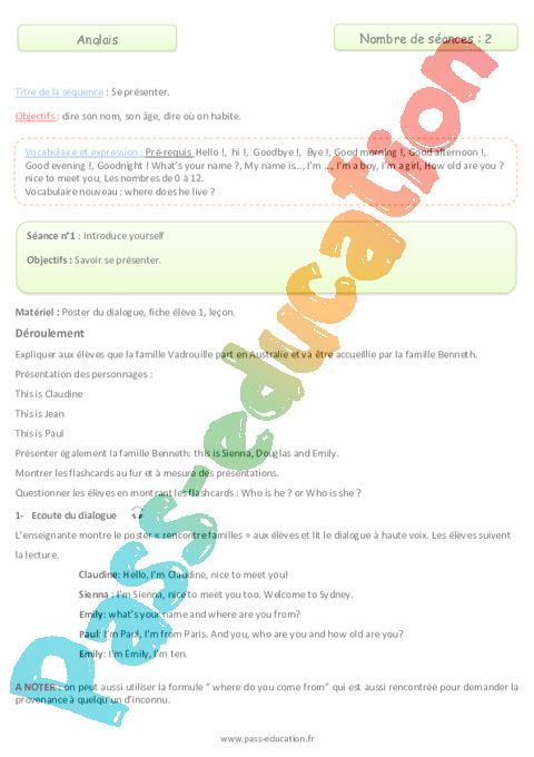 Exercice Langue - Anglais : CM2 - Cycle 3 - Pass Education