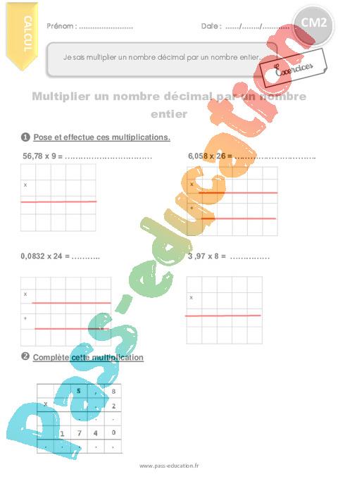 Exercice Nombres décimaux : CM2 - Cycle 3 - Pass Education