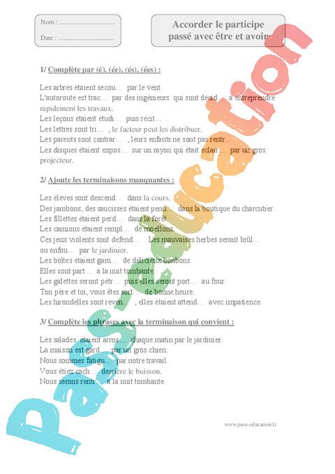 Exercice Participe passé : CM1 - Cycle 3 - Pass Education