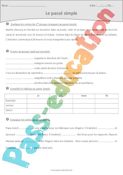 Exercice Passé simple : CM1 - Cycle 3 - Pass Education
