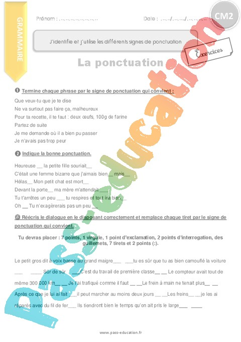 Exercice Ponctuation : CM2 - Cycle 3 - Pass Education