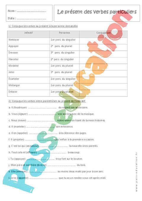 Exercice Présent de l'indicatif : 5ème - Pass Education