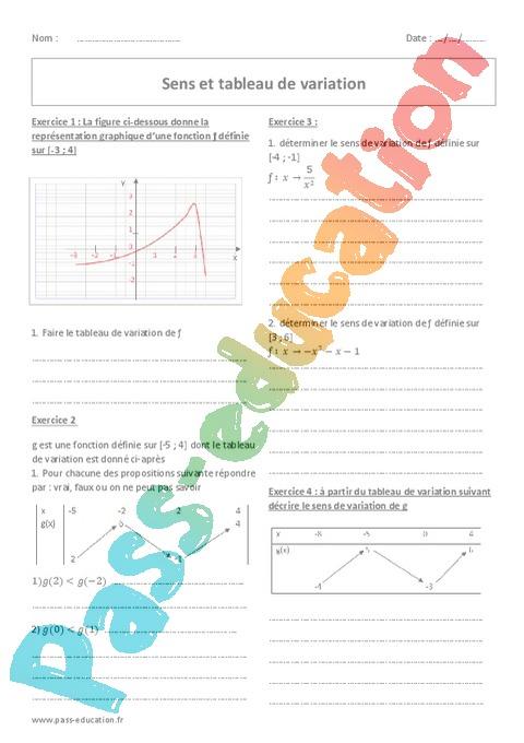 Exercice Sens de variation : Seconde - 2nde - Pass Education
