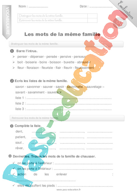 Familles de mots : CE2 - Cycle 2 - Exercice évaluation ...