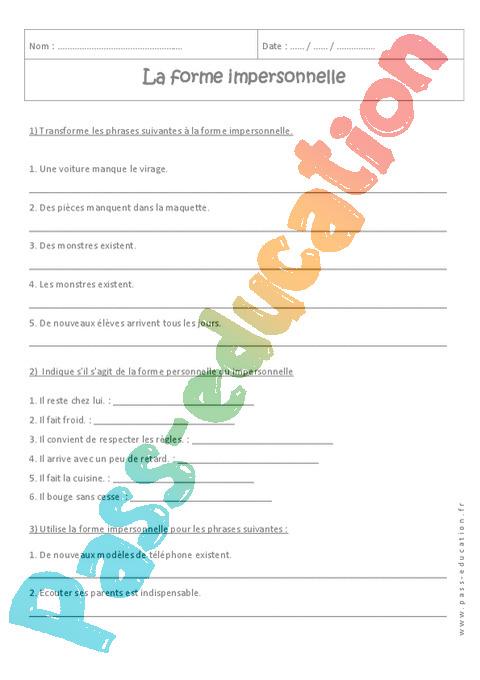 Forme impersonnelle  4ème , Exercices cours évaluation