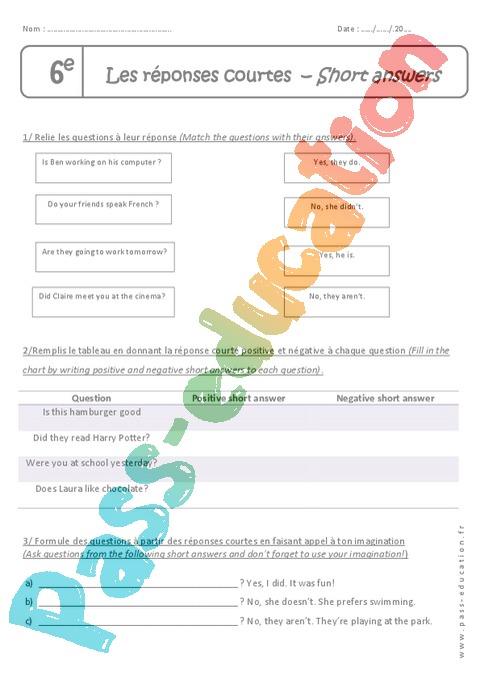 Grammaire - Anglais : 6ème - Cycle 3 - Exercices cours ...