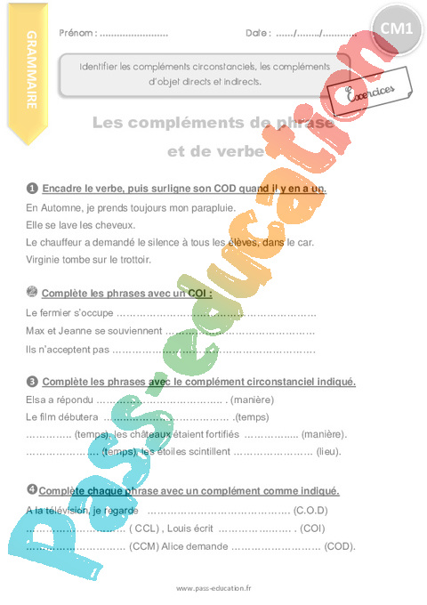 Grammaire Cm1 Cycle 3 Exercice Evaluation Revision