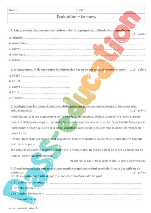 Nom : 6ème - Cycle 3 - Exercices cours évaluation révision - Pass Education