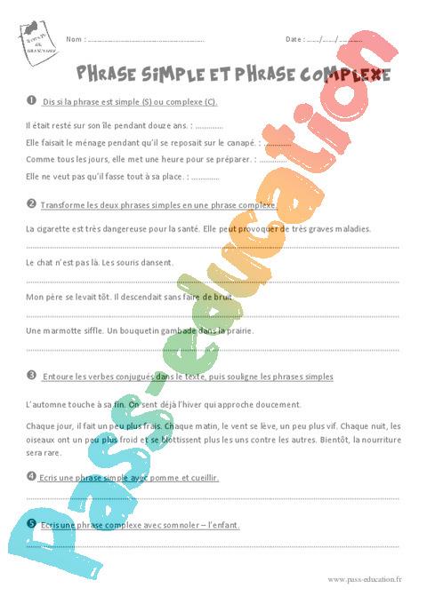 Phrase simple et complexe : CM1 - Cycle 3 - Exercice évaluation révision leçon - Pass Education