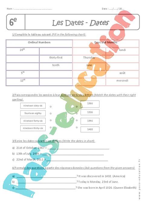 Vocabulaire - Anglais : 6ème - Cycle 3 - Exercices cours ...
