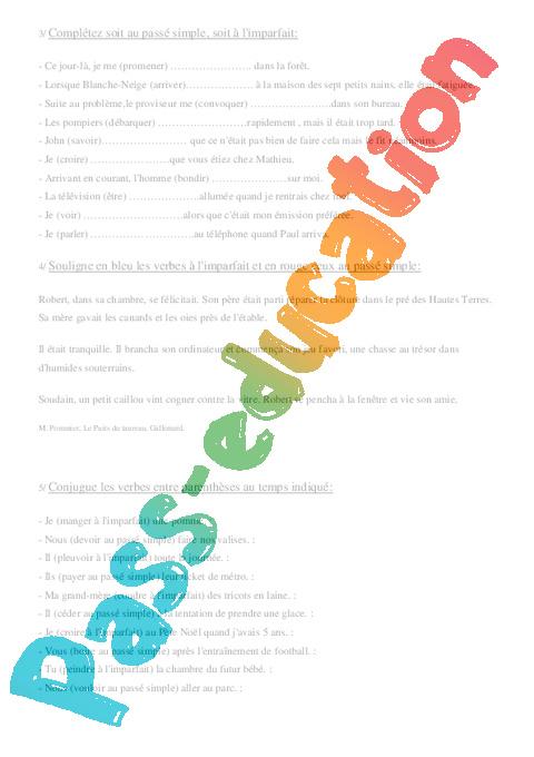 L Imparfait Et Le Passe Simple Cm1 Exercices Conjugaison Cycle 3