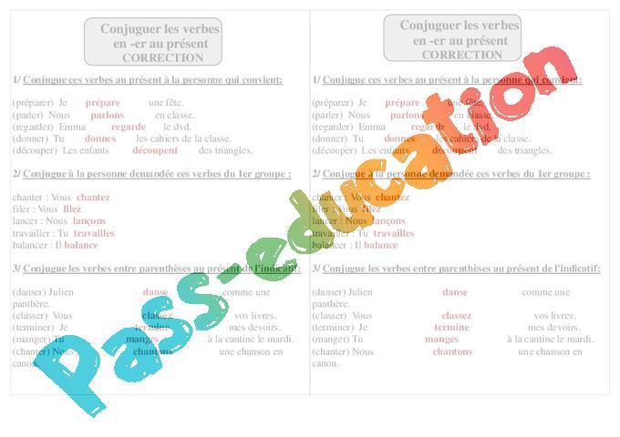 Verbes En Er Present Ce1 Conjugaison Exercices Corriges Cycle 2