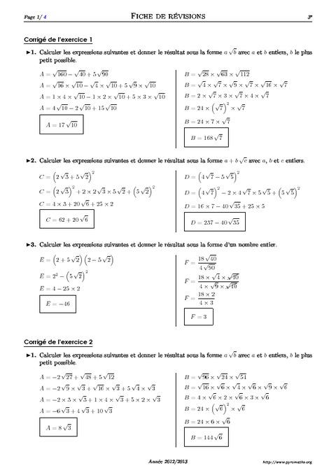 correction exercice de math 3eme