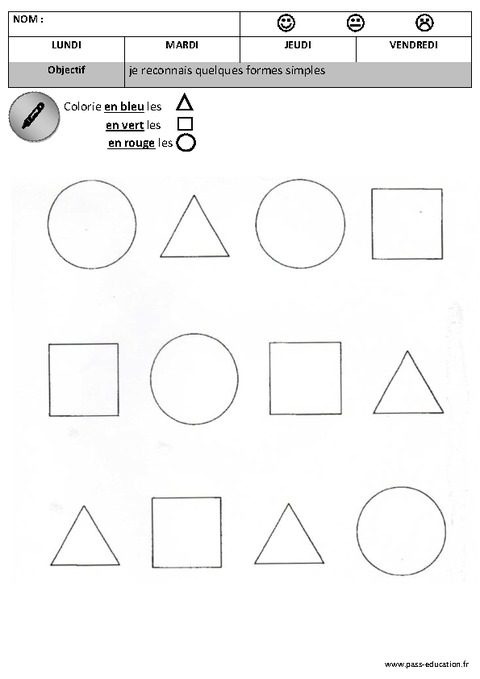 colorie les formes maternelle petite section moyenne section formes cycle 1