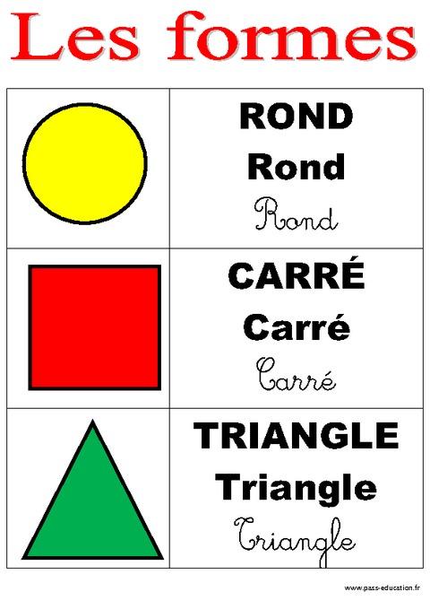formes affichages pour la classe maternelle ps ms gs